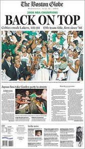 The Front Page of the Boston Globe