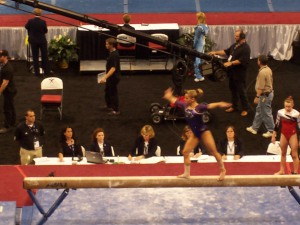 Alicia Sacramone on beam during Day 1 of the 2008 Visa US Championships